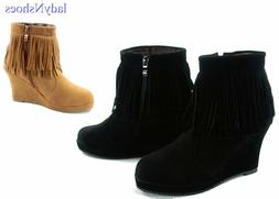 NEW Women's Fashion Zip Fringe Round Toe Wedge Ankle Booties