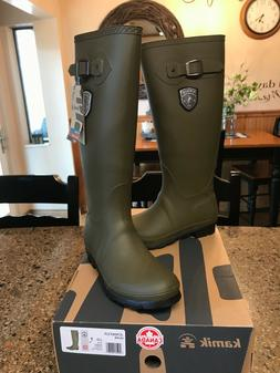 NEW KAMIK Women's Jennifer Rain Boots Size 7 Green Rubber Kn