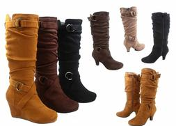 New Women's Low Heel Wedge Slouchy Zipper Mid Calf Knee High