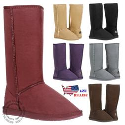 New Women's Mid Calf Classic Tall Winter Snow Fur Suede Skin