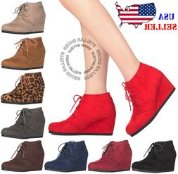 New Women's Round Toe Lace Up Wedge Heels Suede Ankle Boots