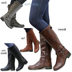 New Women SBHr Tan Black Gray Brown Buckle Riding Knee High