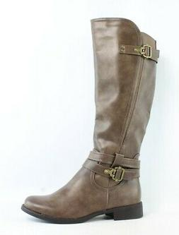 womens taupe riding boots size 9 135088