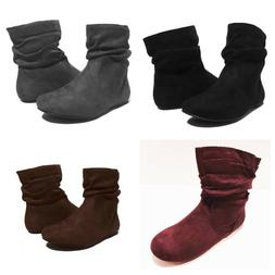 NEW Womens Short Wrinkle Slouch Ankle Boots Flat Heel Suede
