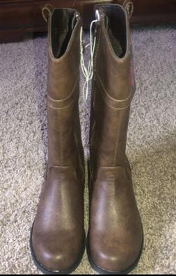 NEW Youth Girls Size 11 Brown Zip Up Boots Bobbie Brooks BRA