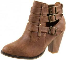 NIB FOREVER Link Taupe Beige Ankle Bootie Boots Block Heel 6