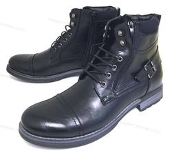NIB Men's Ankle Boots Military Combat Style Lace Up Side Zip