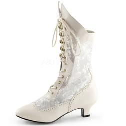 Nude Lace Up Victorian Mid Calf Steampunk Costume Boots Woma