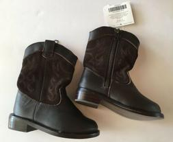 NWT Janie & Jack Fall Frontier Brown Leather Cowboy Boots 5