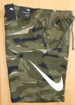 NWT NIKE Men's LOGO Fleece Shorts CAMOUFLAGE GREEN BLACK RAR