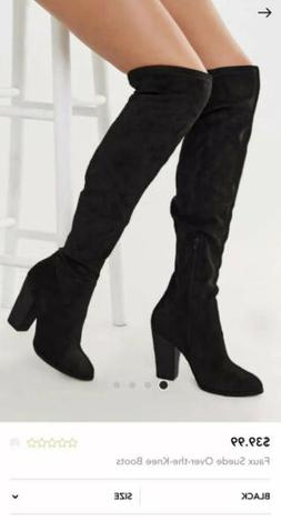 Forever 21 Over The Knee Black Faux Suede Boots Block Heel S
