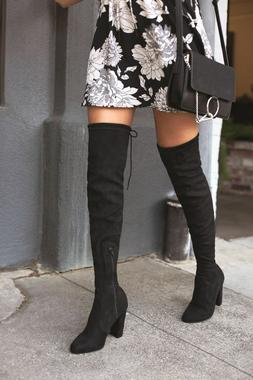 Over The Knee Boots Thigh High Stretch Upper Round Toe Chunk