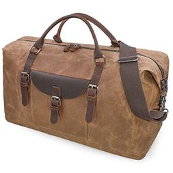 Oversized Travel Duffel Bag Waterproof Canvas Genuine Leathe