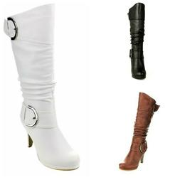 Top Moda Page-22 Womens Knee High Round Toe Buckle Slouched