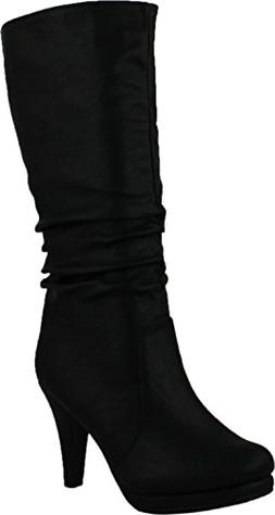 6f0147df2ea Top Moda Womens Page-43 Mid Calf Round Toe Slouched High Hee