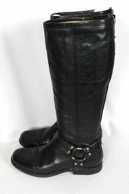 Frye PHILLIP Tall Black Back Zip Leather Harness Boots Sz 7.