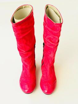 I Pinco Pallino Pink Suede Knee High Boots for Girls - Size