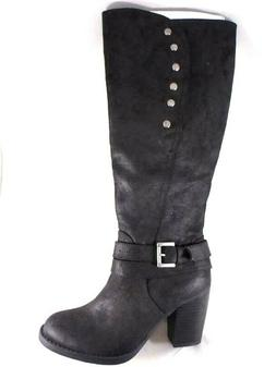 Rampage Praise Women's Black Knee High Zip Up High Heel Casu