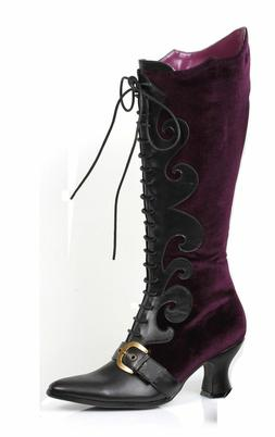 Purple Velvet Witch Maleficent Victorian Costume Lace Boots