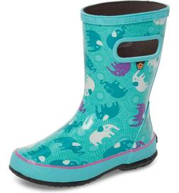 Bogs Rain/Snow Boots Kids Size 11 Euro 27 Teal With Elephant