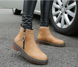 Retro With Zip Low Heels Woman Boots Mid-Calf Boots Martin b