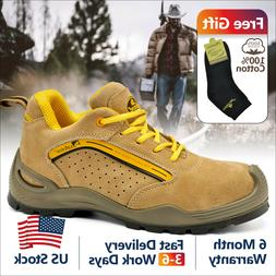 Safetoe Safety Shoes Mens Work Boots Steel Toe Yellow Leathe