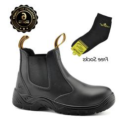 Safety Boots Men Work Shoes Leather Steel Toe Water Resistan