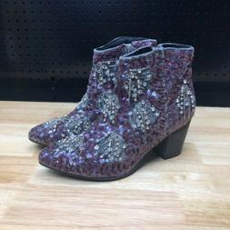 Free People Sequin Bling Beaded Festival Purple Night Out An
