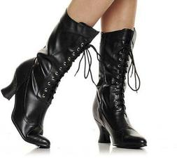 Sexy Pleather Lace Up Mid Calf Knee High Mid Heel Combat Boo