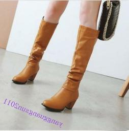 Sexy Women Block Heels Slouch Knee High Combat Boots Pull on