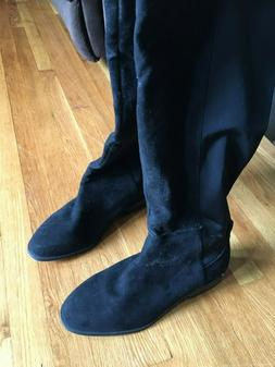 FOREVER 21 size 13 Wide Black Suede Slip-on Knee Boots