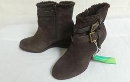 Sole  Ability Brown Wedge Suede Leather Ankle Boots for Wome