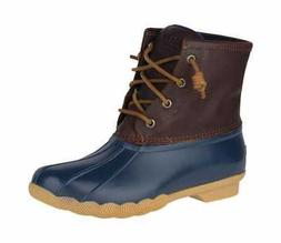 Sperry Top-Sider Women's Saltwater Duck Boot Tan/Navy Leathe