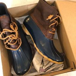 SPERRY Womens Saltwater Duck Boot Tan/Navy Style STS91175 10