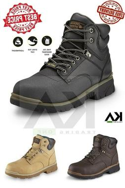 Steel Toe Work Boots Men's Safety Shoes Lightweight Oil Slip