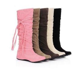 Suede Boots For Women Winter Warm Snow Mid-calf Boots Tassel