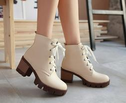 Super Fashion Women Ankle Boots Round Toe Block Heels Boots