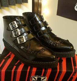 T.U.K. Black 3 Buckle Pointed Toe Creeper Boots Leather Unis