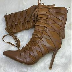 Forever Link tan strap boots with zipper size 10
