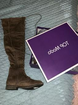 Top Moda Taupe Faix Suede Lace Up Front Thigh Boots Size 6 1