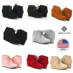 DREAM PAIRS Kids Baby Girls Low Wedge Heel Booties Lace up W