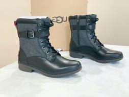 UGG Kesey Waterproof Black Leather Combat Style Boots, Size