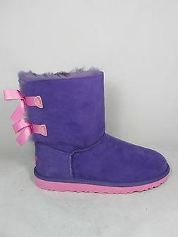 UGG KIDS GIRLS BAILEY BOW BOOTS PURPLE REIGN/LIPGLOSS PINK S