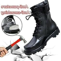 US Men Safety Shoes Steel Cap Toe Work Boots Leather Militar