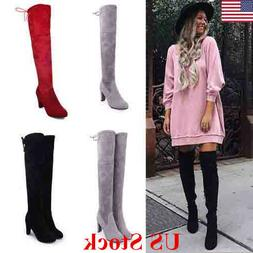 US New Womens Suede Over The Knee Boots Block High Heel Lace