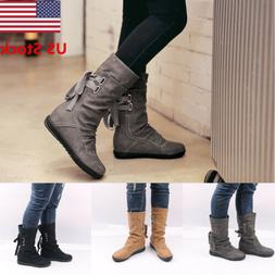 US WOMEN'S PU FLAT LACE UP SLOUCH MID CALF RIDING CASUAL SHO