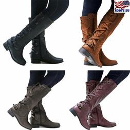 US Women Lace Up Zip Boots Knee High Mid Calf Block Heel Rid