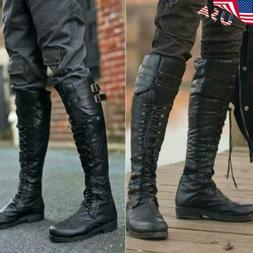 USA Men Knee High Pirate Boots Military Vintage Biker Cross