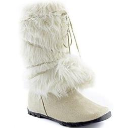 DailyShoes Warmer 01 Mukluk Boots Faux Fur Round Toe Ankle H