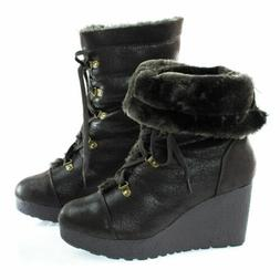 BAMBOO Wedge Boots, Crepe 07 Women  Lace  Faux Fur Lining SZ